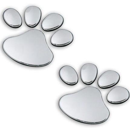 2PCS 3D Dog Bear Footprints Chrome Badge Emblem Car Stickers Decal Dog paw Dog Footprint 3D PVC for Nissan Teana X-Trail Sunny(China (Mainland))