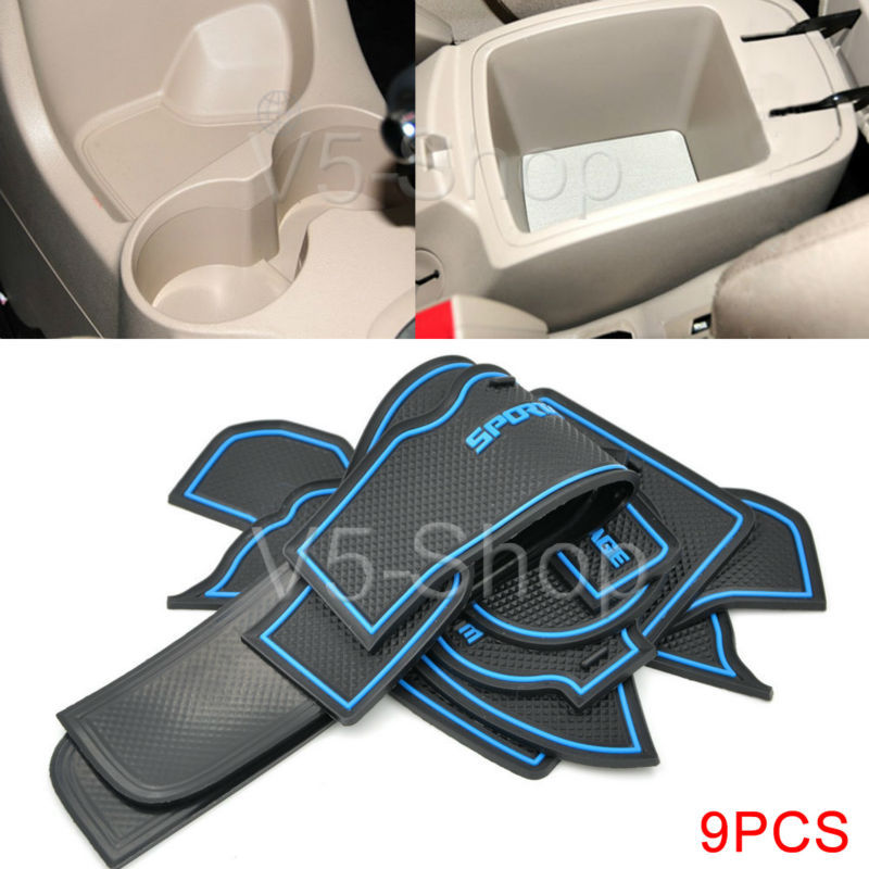 Lot 9pcs Blue Non-Slip Car Gate Slot Pad Door Silicone Mat For KIA Sportage 2008-2013 08 09 10 11 12 13(China (Mainland))