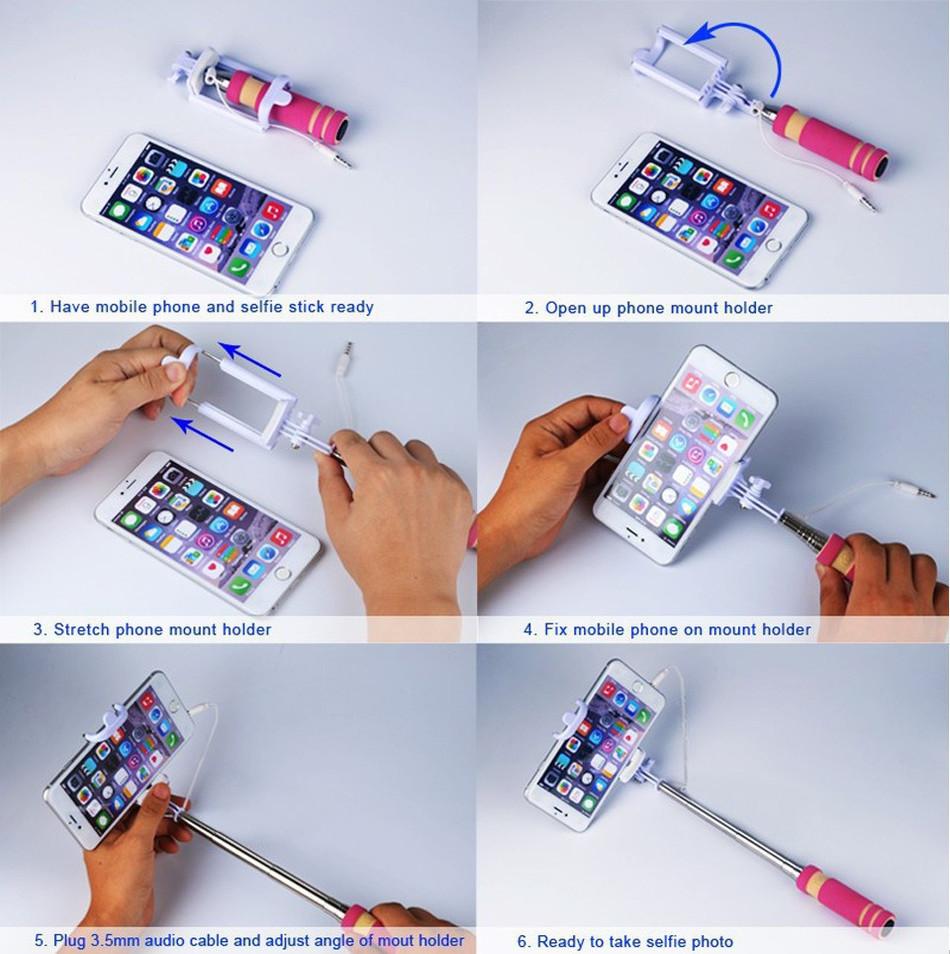 mobile phone mini handheld selfie stick extendable portable monopod tripod for iphone samsung. Black Bedroom Furniture Sets. Home Design Ideas
