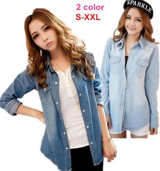 2014 весна женская мода урожай с длинным рукавом женский Большой размер джинсы блузки, Бесплатная доставка