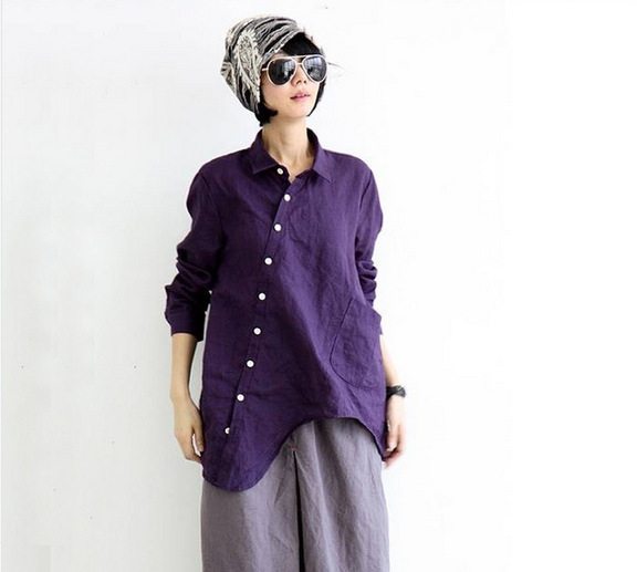 2015 new fashion women vintage blouses and tops ladies for Womens linen shirts blouses