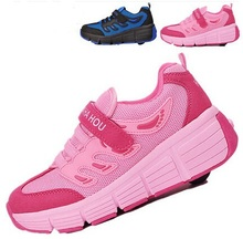 Roller Skate Shoes 2015 Wings Fashion Children Shoes Wheels Safe Sports Roller Sneakers Automatic Invisible Roller Skate Shoes(China (Mainland))