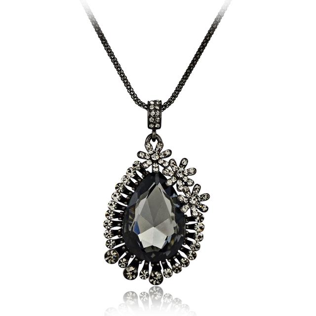 Accessories vintage crystal necklace big drop flower pendant necklace bohemia black