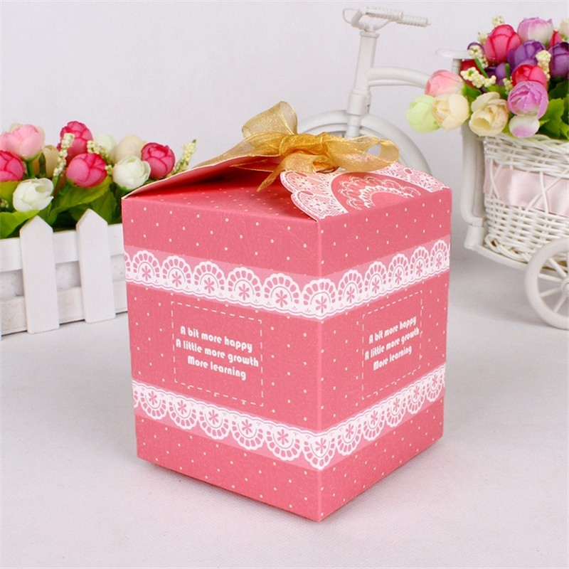6 Color Packaging Paper Box Food 10 PCS Candy Cake Cookies Container Christmas Wave Point Baby Shower Party Gift(China (Mainland))