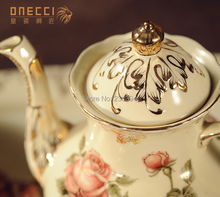 luxury European antique bone Coffee Tea 12 sets Beige Rose pattern Grilled gold Tray teapot milk