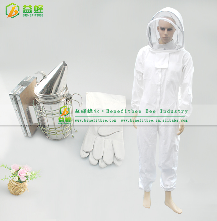 3PCS/set Special Practical Beekeeping Equipment Kits Cotton Full Body Beekeeping Suit with Veil Hood / Bee Smoker / Bee Gloves(China (Mainland))