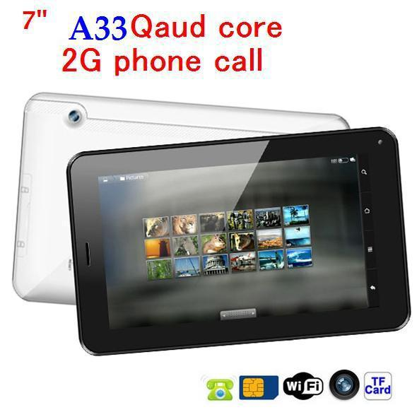 discount!!cheapest tablet pc 7 inch AllWinner A33Quad Core Bluetooth WIFI+512MB/4GB+ Android 4.4+2G GSM phone call tablet pc(China (Mainland))