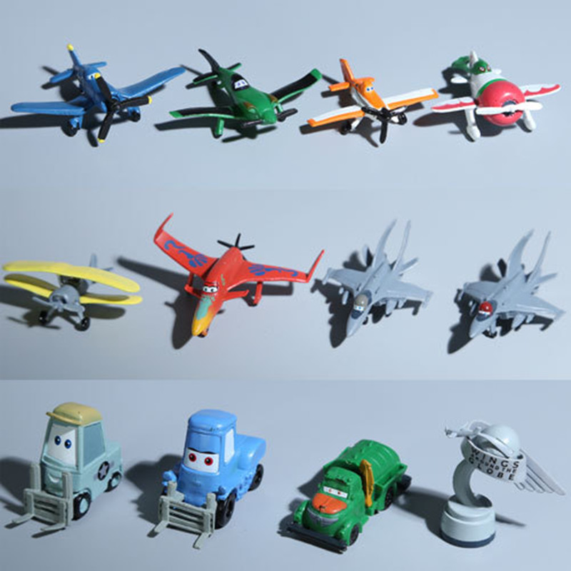 12 pcs/set Planes Racing aircraft model children's toys hand Office Desktop DecorationGirl doll toy Kids birthday gift(China (Mainland))