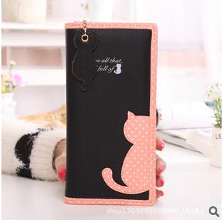 New arrival cute carton cat women wallet short and long pattern women purse women card holder zipper design brand coin purse(China (Mainland))