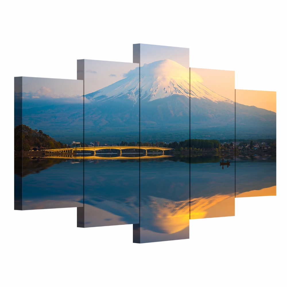 Unframed Modern wall art canvas print painting Japanese Fuji Mountain picture reflection in lake home decorative photography(China (Mainland))