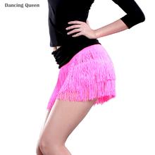 2015 Latin Dance Skirt Tassels Dance Exercise/Performance Dancewear Rose/Black Ballroom/Cha Cha/Rumba/Samba/Tango Skirt DQ3093