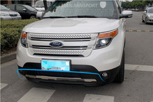 Styling Quality Front and Rear bumper Skid protector Guard plate trim 2pcs For Ford Explorer 2011 2012 2013 2014 Free shipping(China (Mainland))