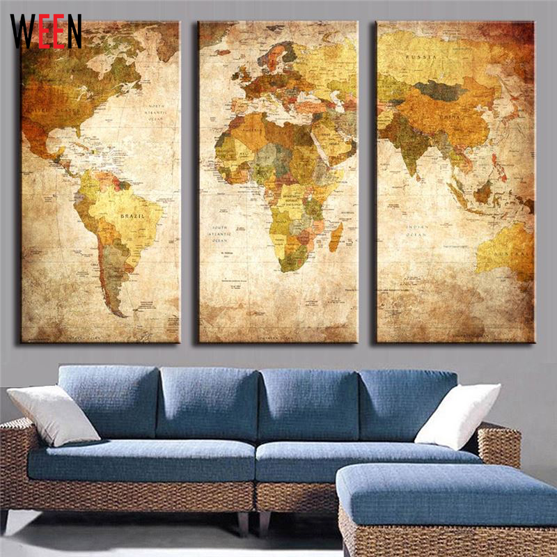 3 Panels World Map Wall Pictures For Living Room Modern