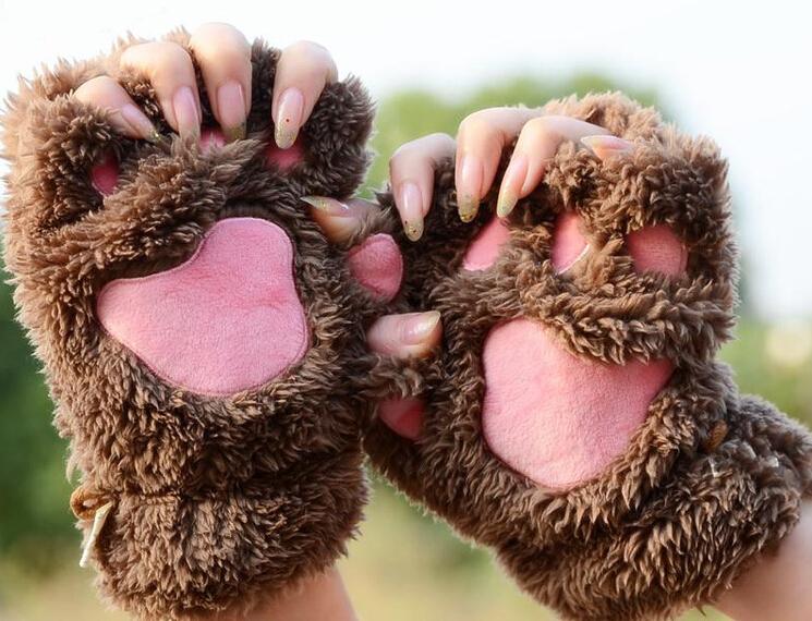 2014 fashion winter warm gloves women cute Cat paw design velvet gloves without finger Hand Warmer Fingerless Mitten(China (Mainland))