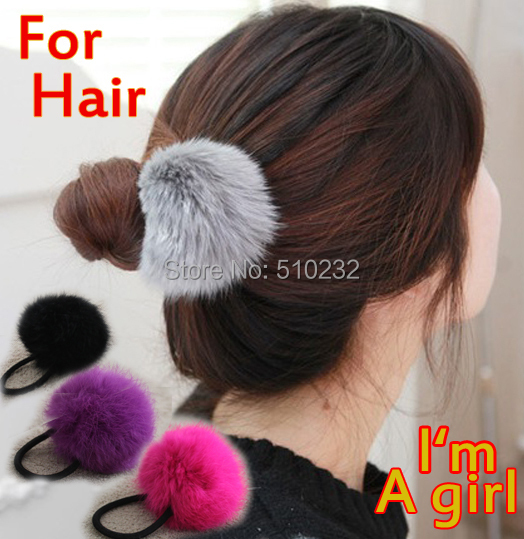 2015 Girls Must Have Hair Band Real Fur Pom Pom Elastic Headband Rabbit Hair Trimmer Elastic Hair Bands Women's Hair Accessories(China (Mainland))