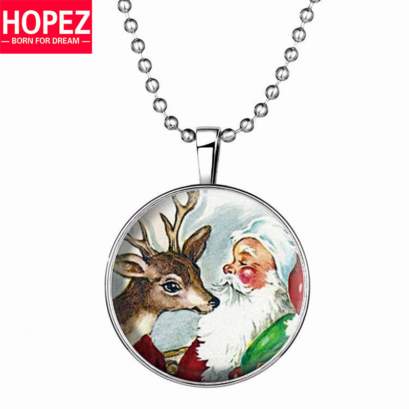 Hot Christmas Santa Claus Noctilucent Necklace Cute