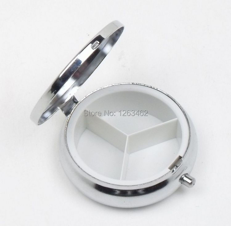 Free shipping  10pcs/bag Round  Pill Cases Metal Pill boxes DIY Medicine Organizer Container Medicine Case Silver Color(China (Mainland))