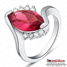 Elegant Women Rings Retro Crystal Jewellery Real Platinum Plated Red Ruby Imitation Diamond Ring WX-RI0138