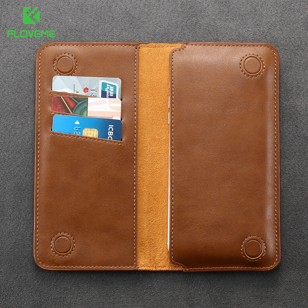 FLOVEME Universal Genuine Leather Wallet Pouch Cover Case Samsung Galaxy S8+ S7 S6 Edge Plus S5 A7 A5 J5 Note 5 Card Slots