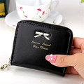 2017 New Cute Simple Bowknot Fashion Lady Women Leather Wallet Fashion Coin Purse Bag Zipper Clutches