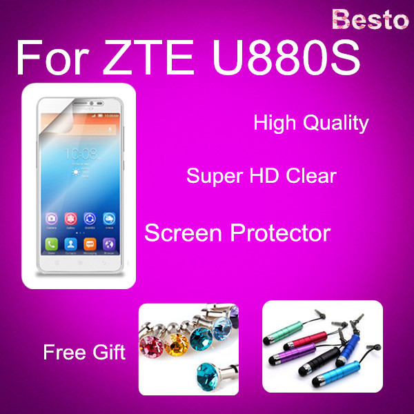 HD Screen Protector 100% Brand New For ZTE Freeshipping from China For ZTE U880S,Screen Protector with two Gifts(China (Mainland))