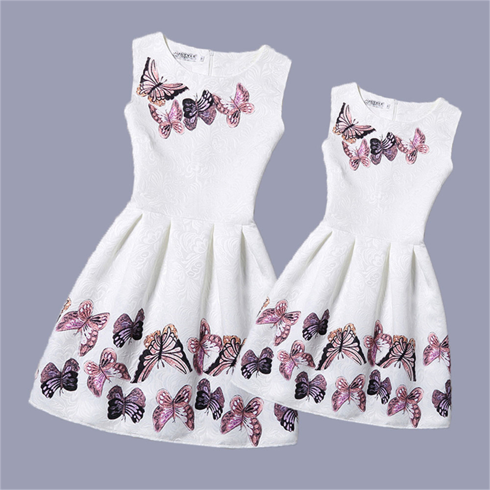Mother Daughter Dresses 2017 New Girls Vintage Printed Spring Dress Family Matching Dressd Mother Daughter Clothes Mae e Filha