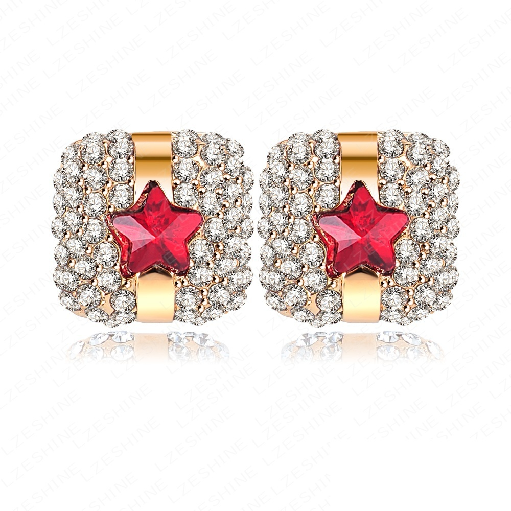 Square Stud Earrings Real 18K Gold Plated SWA Element Austrian Crystal Earrings With Star Pattern ER0042(China (Mainland))
