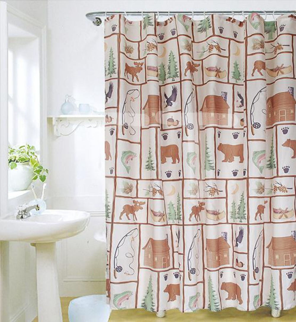 Cartoon Forest Bathroom Products Polyester Fabric Waterproof Shower Curtain Bathing Screen Liners(China (Mainland))