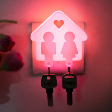 No Shipping fee Unique Design Creative Love House Design Light Control Room Hallway Night Light Lamp Pink E#A3(China (Mainland))