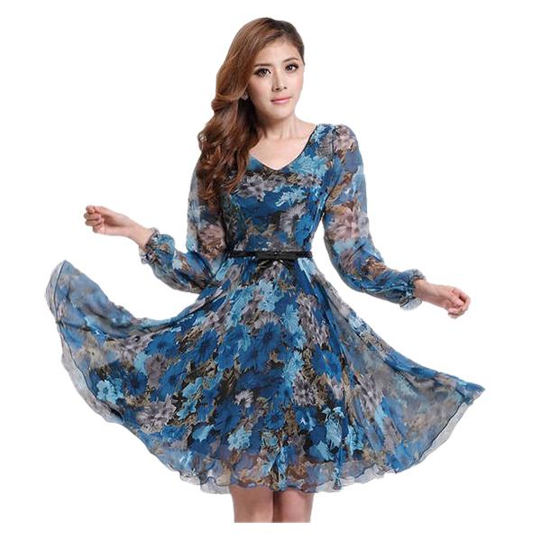 Платье шифон лето, женщины свободного покроя