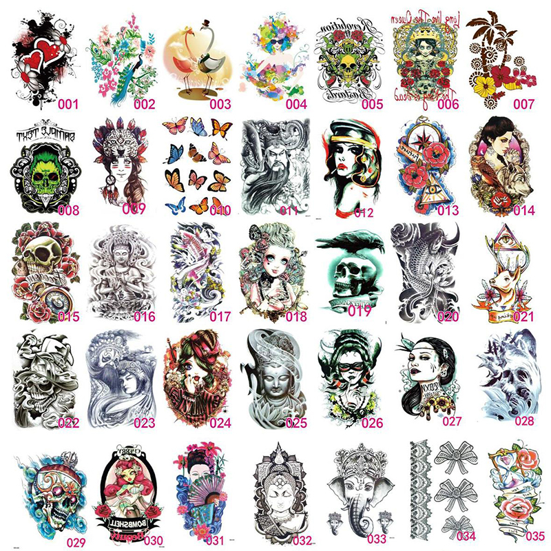 Wholesale 20pcs large color waterproof temporary tattoo for Wholesale temporary tattoos