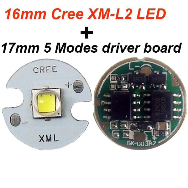 1 PC 16mm Cree XML L2 led Beads + 1 PC Flashlight Driver 17mm 5-Mode 3.7v - 4.2v 2.5A Circuit Board for XM-L XM-L2 XP-L V5 led(China (Mainland))