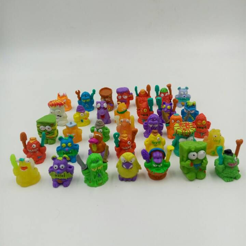 50pcs/lot Colorful cartoon anime action figure toy 2-3cm Mixed soft garbage trash pack model toy for children randomly sending(China (Mainland))