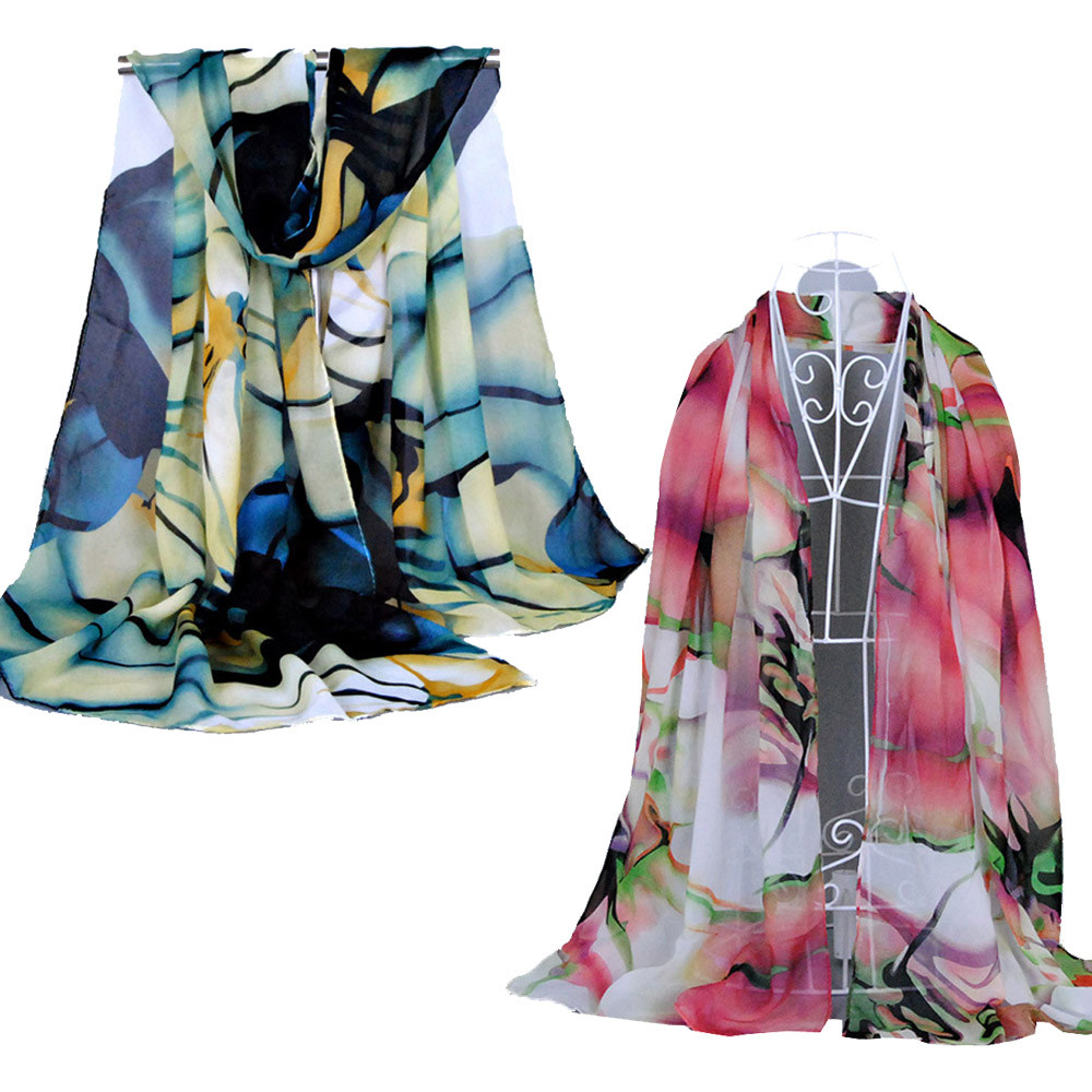 Cheap Modern Chiffon Silk Scarf Women Fashion Long Wrap Women's Shawl Print Winter Scarf Scarves For Women Girls Lady(China (Mainland))