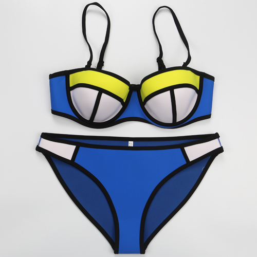 2015 summer style push up triangle neoprene bikini set women sexy swimsuit swimwear bathing suit biquini swim suit(China (Mainland))