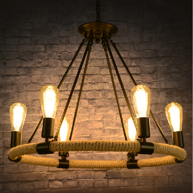 Nordic creative Hemp rope light Loft vintage iron cafe hotel rope pendant light with free shipping<br><br>Aliexpress