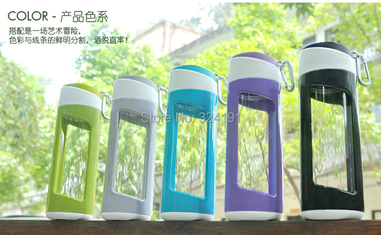 2015 hot sale travel glass cups leak proof , glass water bottles double wall green tea drinkware(China (Mainland))