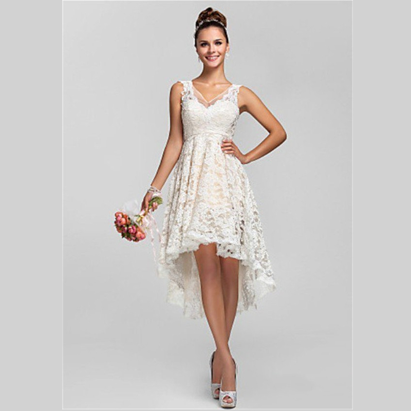 2015 dreamy white lace bridesmaid dress gown short front for Wedding guest lace dresses