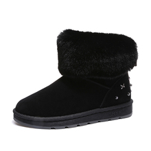 2018 Winter Women Boots New Style 농축, 암 눈 Boots Bottom 평 Warm 방수 Women 눈 Boots(China)