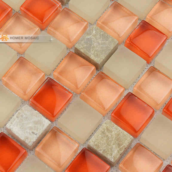 Orange Marble Tile : Orange glass mixed gray marble tile bathroom mosaic tiles