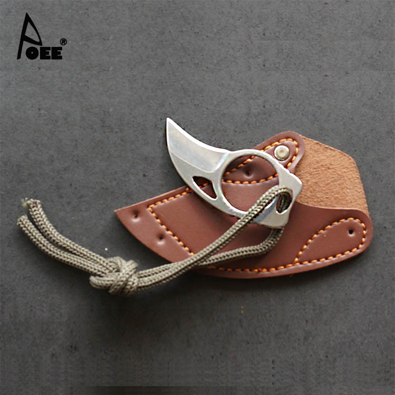 Small Protable MC Knife Home Outdoor Survival Self-defense Mini Claw Knife Leather Sheath Faca Karambit(China (Mainland))