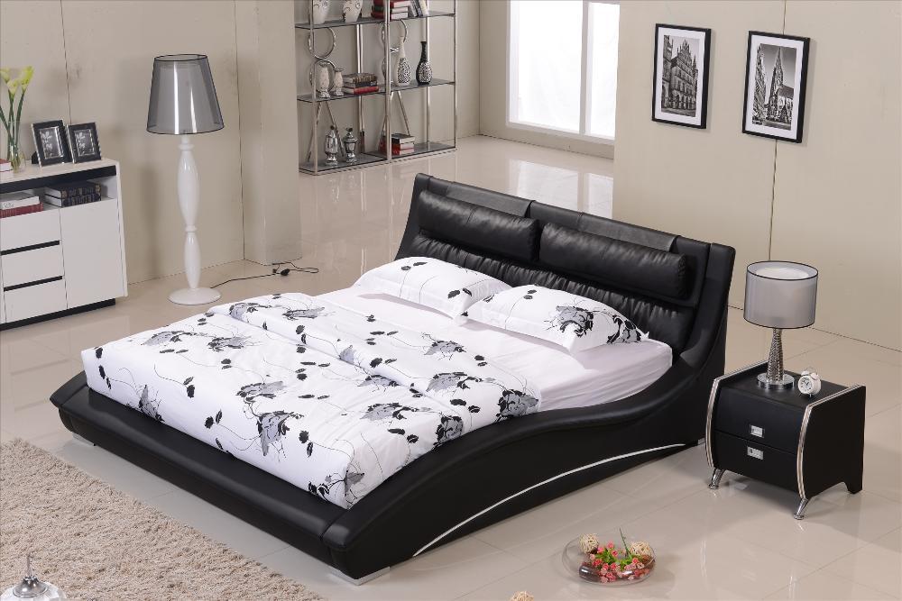 Meubles chambre confortable cuir noir t te de lit en bois for Tete de lit confortable