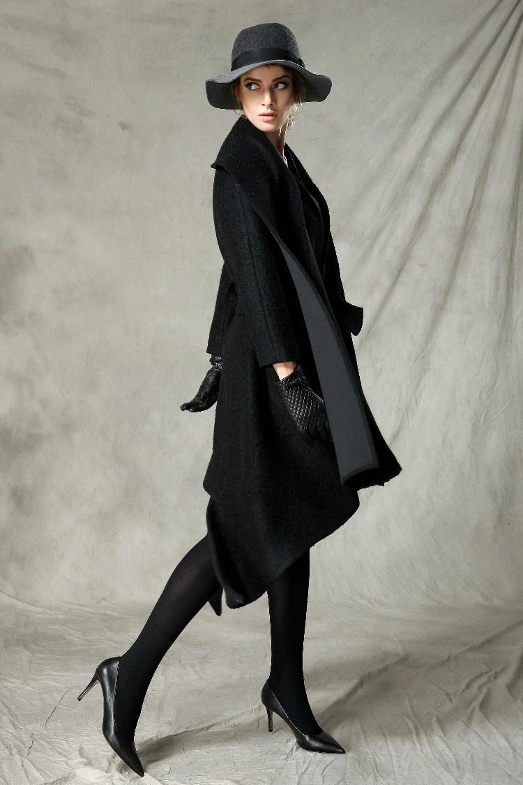 [AIGYPTOS-C] Original Design Winter Women Novelty Personality overcoat fashion scarf collar irregular long black woolen coat