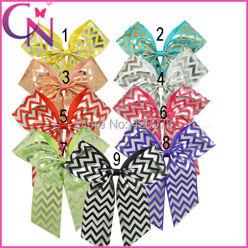 "Free Shipping 27 Pcs/lot 5"" Girls Cheerleading Cheer Bows,Sliver Chevron Cheer Bow With Clip For Kids,Chevron Cheer Accessories(China (Mainland))"
