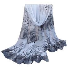 New Design Women Beautiful Rose Pattern Chiffon Shawl Wrap Wraps Scarf Scarves free shipping O27(China (Mainland))