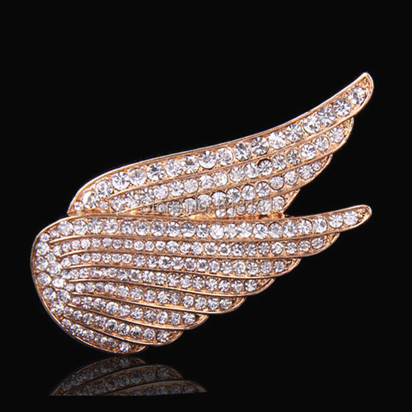 Fashion Full Crystal Angel Wings Brooch Pin 18K Rose Gold Plated Women Brooches Bouquet Cheap Wholesale(China (Mainland))