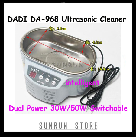 DADI DA-968 Dual Power 30W 50W Ultrasonic Cleaner With Display 220V or 110V Stainless Steel Intelligent Ultrasonic Cleaning(China (Mainland))