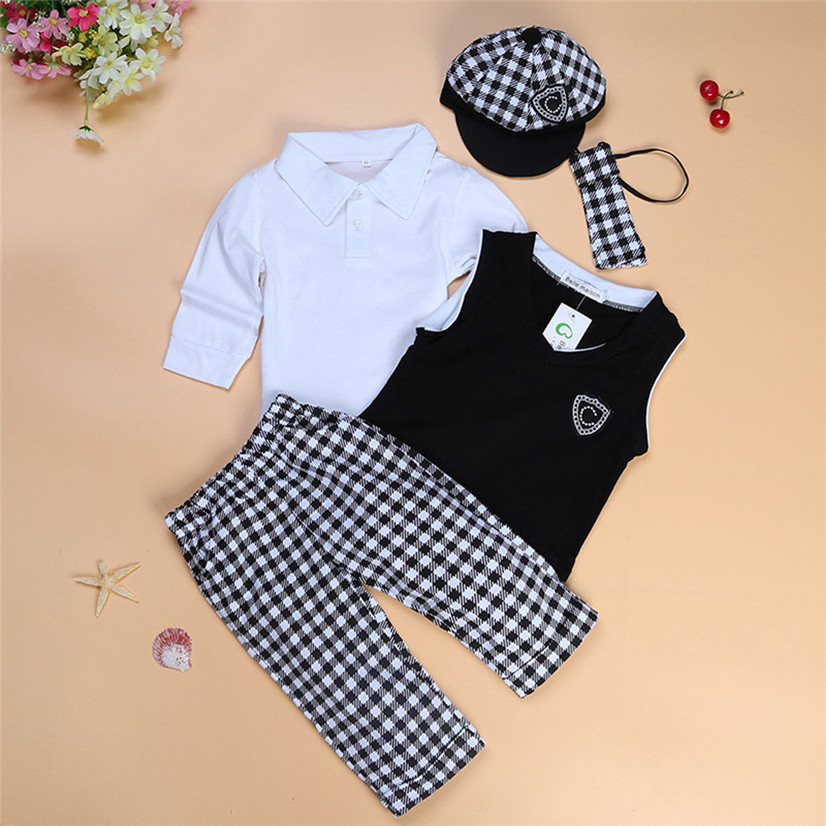 Best seller drop ship kids boys clothes sets Kids Baby Boys T-Shirt Tops+Vest+Necktie+Hat+Trousers Set Clothes Outfitst Feb722(China (Mainland))