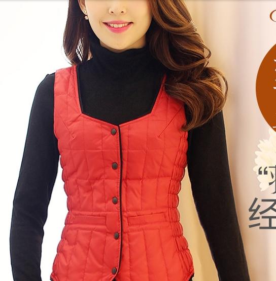 Down vest Women autumn and winter slim small innerwear liner design thin short down coat vest female(China (Mainland))