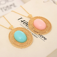 Free Shipping 10 mix order 2015 New Fashion Vintage Jewelry oval cutout necklace female long lovers